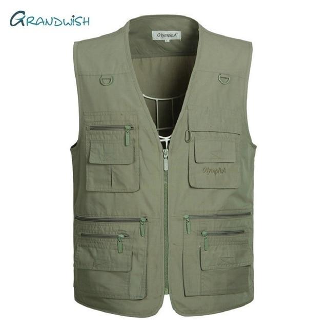 Grandwish Large Size Olympina Mens Army Casual Vests With Many Pockets Male Sleeveless Fashion Waistcoats Plus Size XL-5Xl,DA757