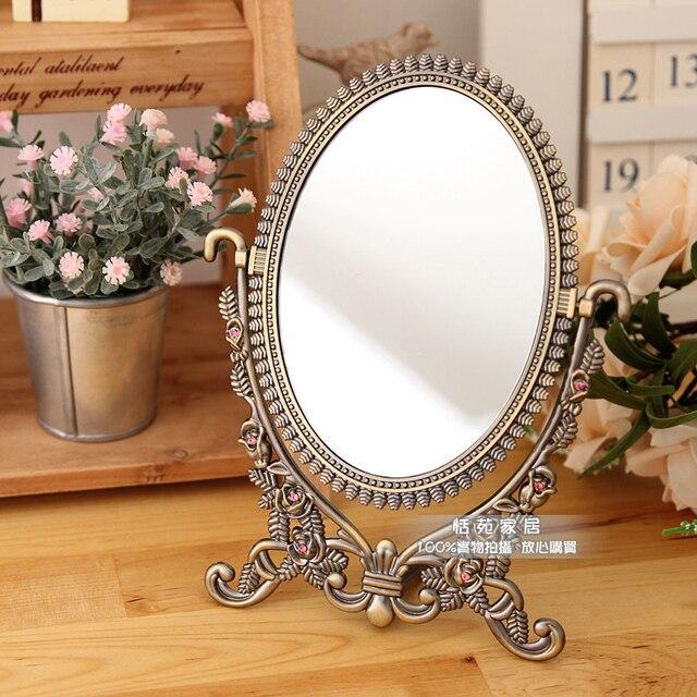 Fashion Copper Alloy Vintage Vanity Mirror Adjustable Desktop Double