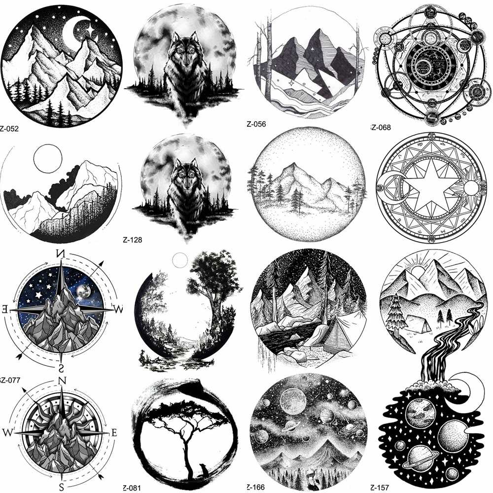 YURAN Black Mountain River Geometric Tattoo Stickers Women Body Arm Moon Temporary Tattoo Men Ankle Wolf Round Fake Tatoo 3D