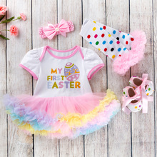 0-24M Baby Girl Clothing Short Sleeve Cotton Infant Bebes Tutu Dress Romper /Jumpsuit Outfit My First Easter Costume Party Gift цена в Москве и Питере