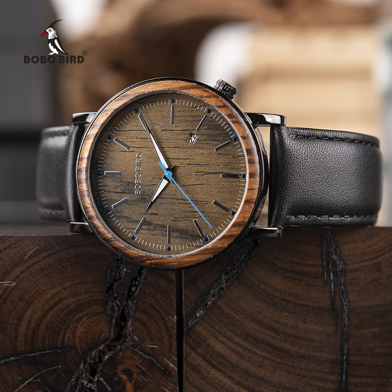 BOBO BIRD Wooden Metal Watch Mænd Brand Design Lightweight Quartz Watches Kalender Accept Tilpas Drop Shipping
