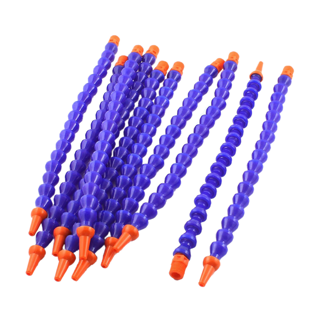 10PCS Round Nozzle 1/4PT Flexible Oil Coolant Pipe Hose Blue Orange 1 pc 1 2 400mm flexible adjustable water oil coolant pipe hose w round nozzle switch