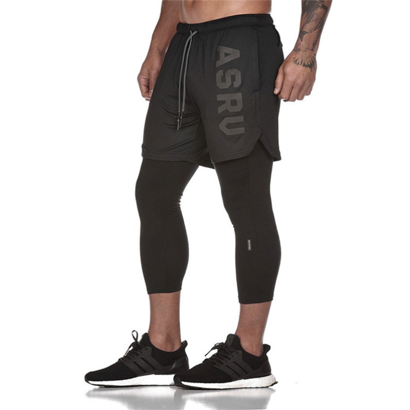 2019 New FAKE 2 IN 1 Men's Calf-Length Pants Gyms Fitness Tight Elastic Pants Quick-drying Leggings Men Pants