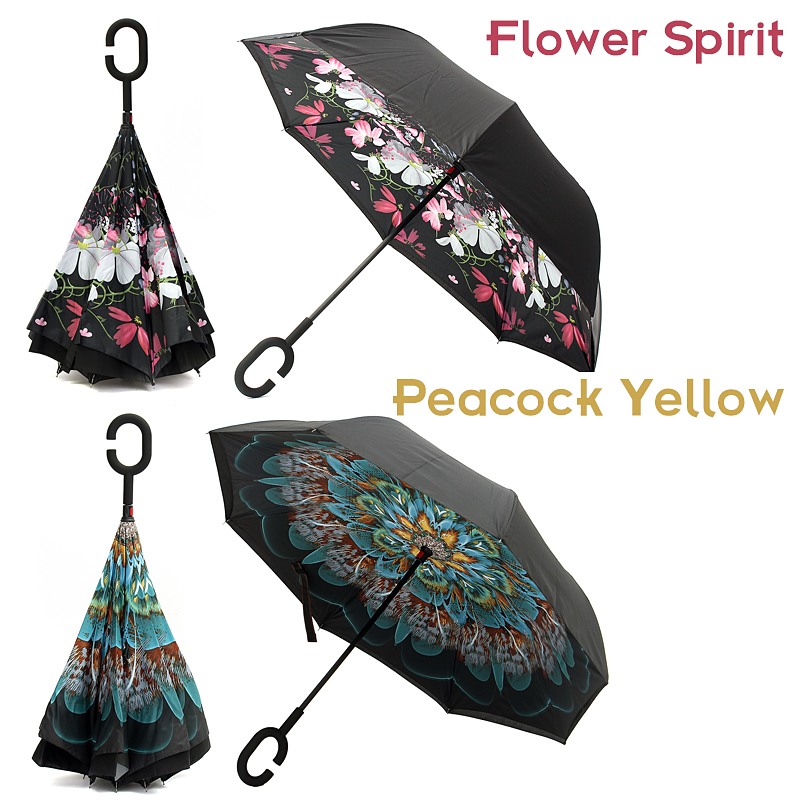 f45a1128a534 US $13.19 44% OFF|Waterproof UV Protection Handle Double Layer Long Upside  Down Reverse Umbrella Folding Reverse Inverted Rain Car For Women Anti-in  ...