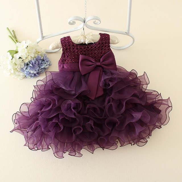 4d0481d5c24af Baby Girls Evening Party Dresses Romantic Birthday Baby Girl Purple Flower  Dress Princess Bow Tutu Dress