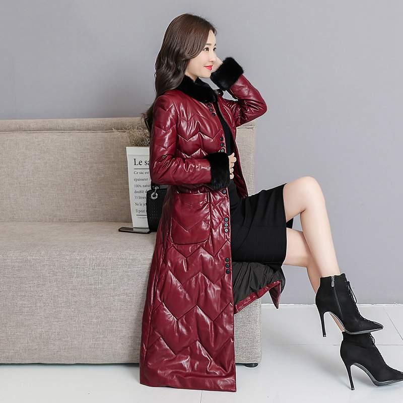 gray 2019 Femmes Col Red Slim Veste Black De Pr385 Long Les En Nouvelle Survêtement Parkas jujube Moyen Véritable Manteau Mode Haute Chaud Fourrure Qualité Cuir nYqW5PBZ