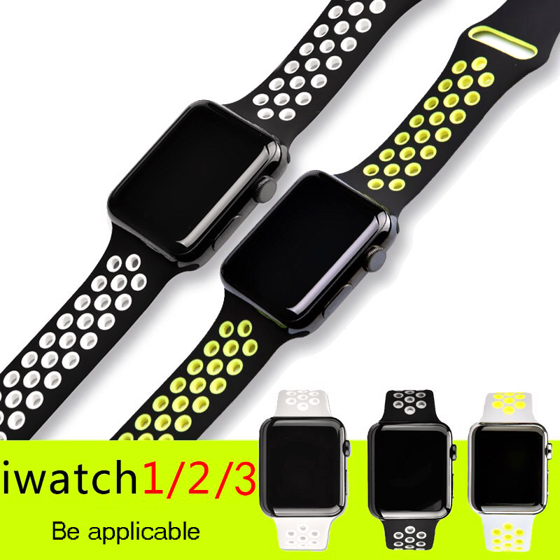 Apple wristwatch strap Breathable Silicone Sports Band for apple Watch Series 1&2&3 42/38mm Sport Rubber Watchband iWatch bands jansin 22mm watchband for garmin fenix 5 easy fit silicone replacement band sports silicone wristband for forerunner 935 gps