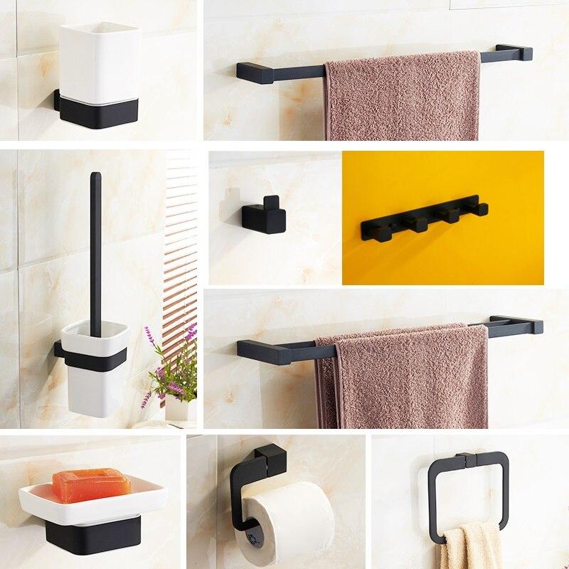 Black Bathroom Hardware Set Chrome simple Toothbrush Holder Paper Holder Towel Bar Bathroom Accessories