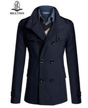 2017 Новый повседневная пальто Осень и зима новый мужской длинное пальто пальто двубортные Тонкий мужской шерстяные пальто