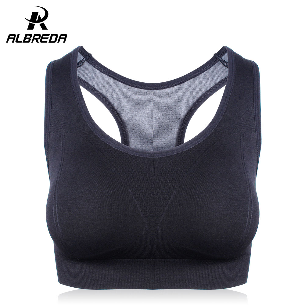 ALBREDA Solid color Women Fitness Yoga Sports Bra for Running Gym Straps Padded Top Quick Dry Sport bra Athletic Vest for women crazyfit mesh hollow out sport tank top women 2018 shirt quick dry fitness yoga workout running gym yoga top clothing sportswear