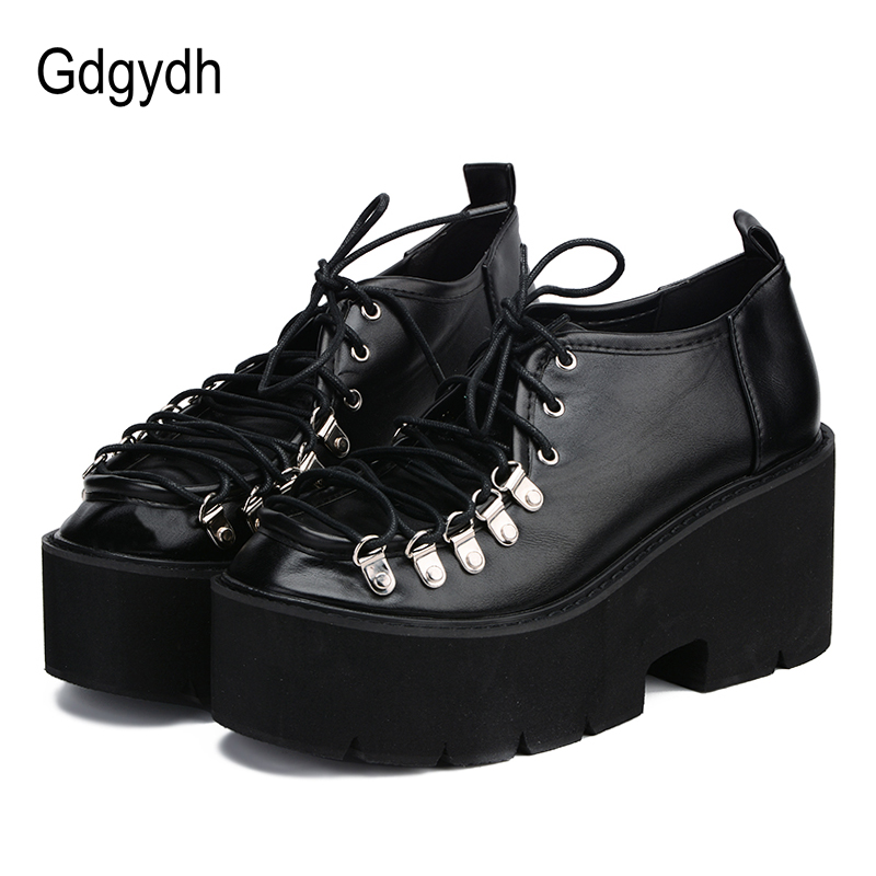 Gdgydh 2018 Spring Autumn Women Shoes Thick Heels Female Pumps Round Toe Platform Lace Up Ladies Comfortable Shoes Casual Woman xiaying smile woman pumps shoes women spring autumn wedges heels british style classics round toe lace up thick sole women shoes