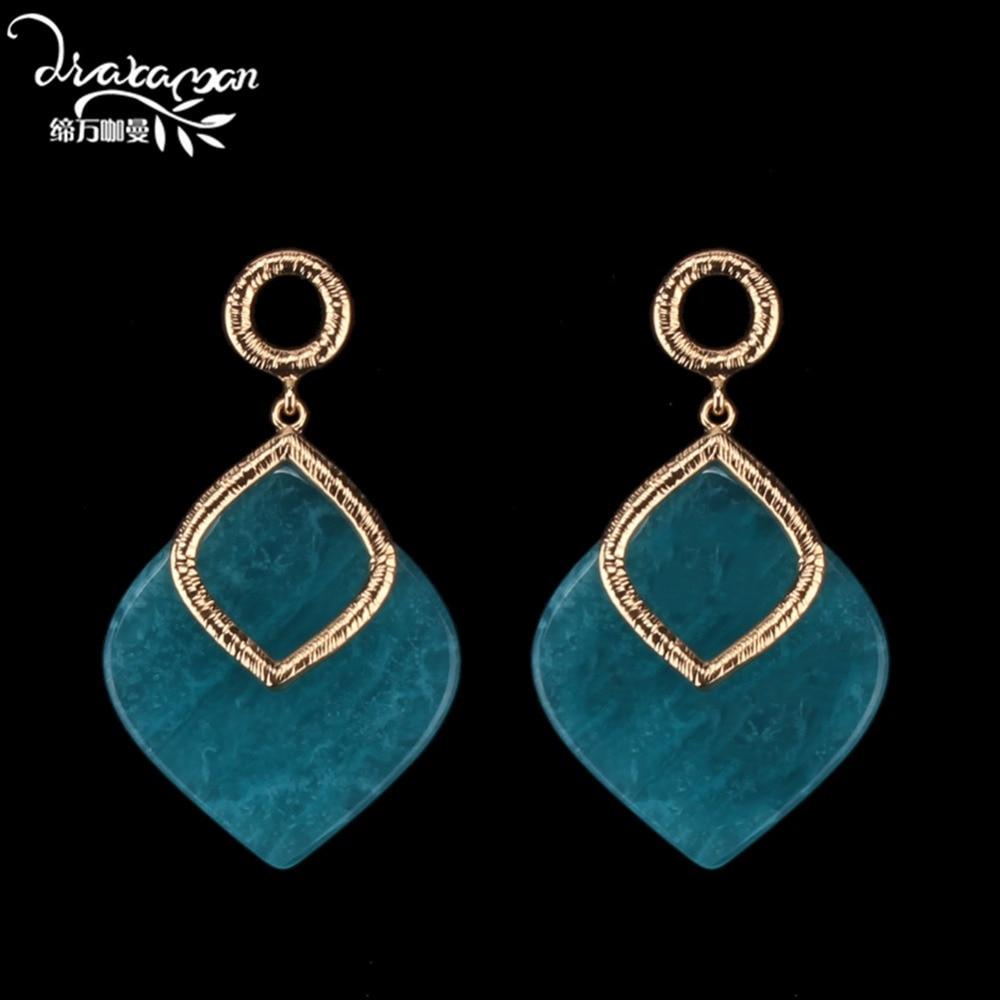 Dvacaman Fancy Handmade Geometric Resin Hanging Earrings Women Metal Pendant Drop Earrings Bridal Gifts Accessories Jewelry FF80