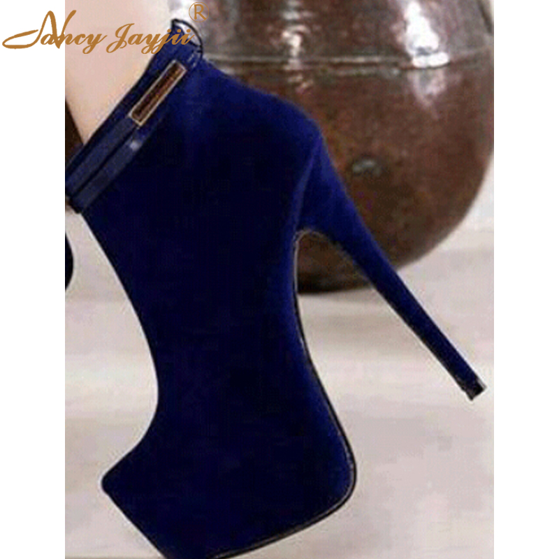 Blue Shoes Flock Thin Heels Super High Platform Sexy Ankle Boots Woman Genuine Leather Party&Wedding Zapatos Large Size 4-16 morazora fashion punk shoes woman tassel flock zipper thin heels shoes ankle boots for women large size boots 34 43