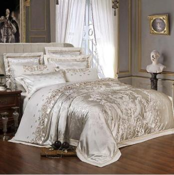 Hot Sliver Golden Luxury Satin Jacquard bedding sets queen king size Embroidery bed set duvet cover bed sheet set parrure de lit