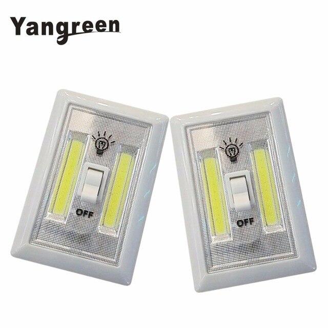 2PCS COB LED Switch Light Wireless Cordless Mini LED Night Light Lamp Portable Multi-Use Self-Stick Battery Power White Color
