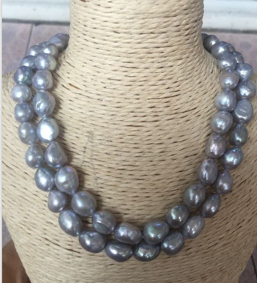 910a5a4084479 Double strands 11-12mm south sea baroque lavender pearl necklace 18 ...