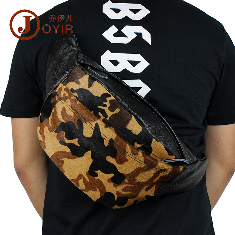 Joyir men waist pack genuine leather leisure multi-purpose belt bag for men vintage camo cell phone bags cowhide man fanny pack cute skull man figure doll cell phone straps grey 12 pack