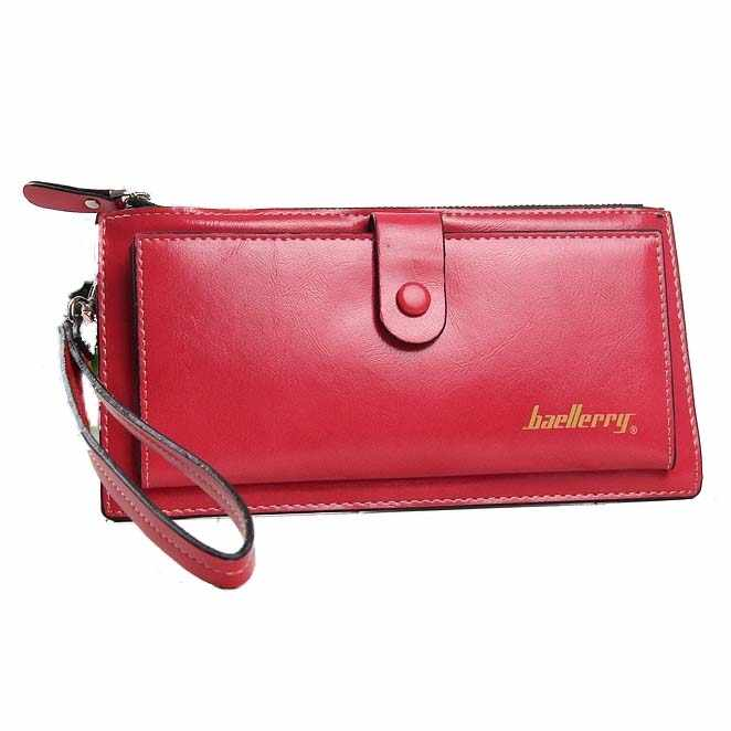 Baellerry Female Leather Hand Bag Fashion Wallets Women Coin Purses Wristlet Bags With Strap, Watermelon red
