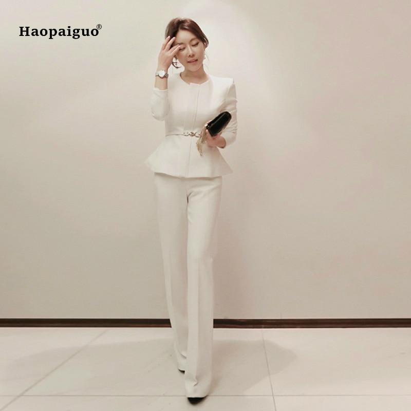 Women 2 Pieces Sets 2019 New Spring Womens Business Suits White Pants Suit Formal OL Business Suit Long Sleeve Trouser Suit
