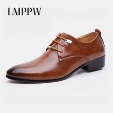 Men Pointed Toe Dress Shoes Black Brown Pu Leather Formal Oxfords New 2019 High Quality Flats Brogue Fashion