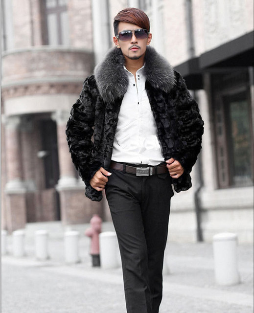 2016 New male fur coat,  Imitation mink fur collar fur coat,Black mink fur  coat  High-end men's mink coat free shipping