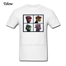 Fashion Gorillaz T Shirts Men's Normal T-shirt Gorillaz Band Teenage Short Sleeve Cotton Big Size Hip Hop Tee For Male Teenager