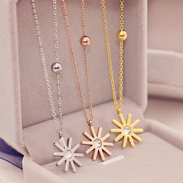 Yun ruo fashion brand yellow rose silver color classic sunflower yun ruo fashion brand yellow rose silver color classic sunflower pendant necklace woman 316l stainless steel mozeypictures Gallery