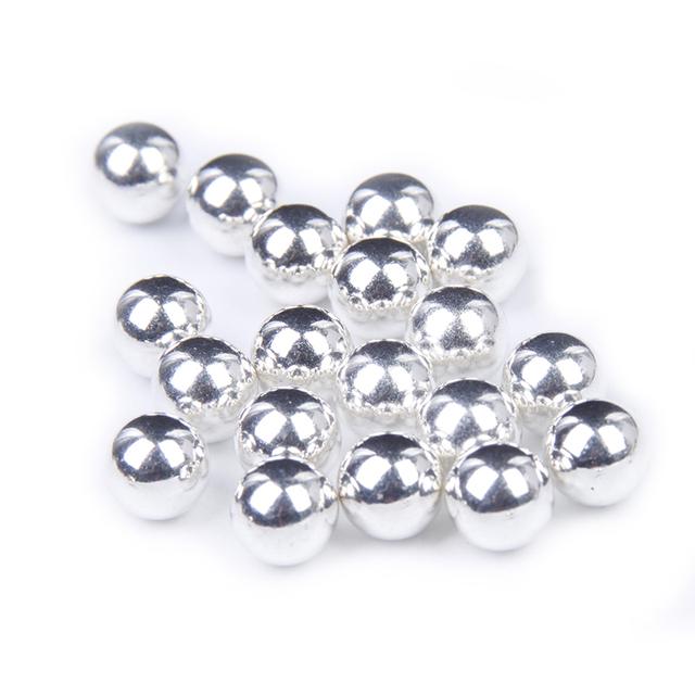 Atacado Cor Prata Metálico Resina Pérolas 4mm 5mm 6mm 7mm 8mm 10mm Nenhum Buraco Simulado Cabochão Rodada Beads DIY Moda jóias