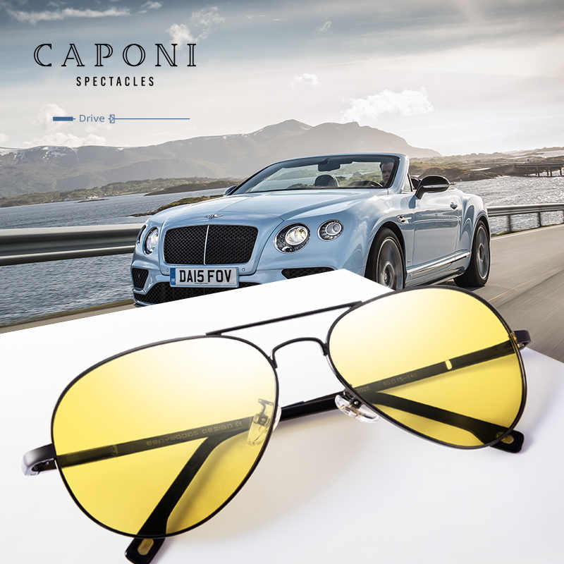 CAPONI แว่นตากันแดด Polarized Photochromic Day และ Night Driving แว่นตา Polit แว่นตากันแดด VINTAGE BSYS3104