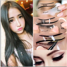 2pcs/set New  Eyeliner Stencil Kit  Eyeshadow Model For  bottom liner eyes make up tool Eyeliner Card Auxiliary Eyebrow