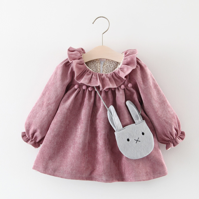 Baby Spring And Autumn New Girls Cotton Corduroy Long-sleeved Dress Lace Pettiskirt Baby Princess Skirt To Send Bags