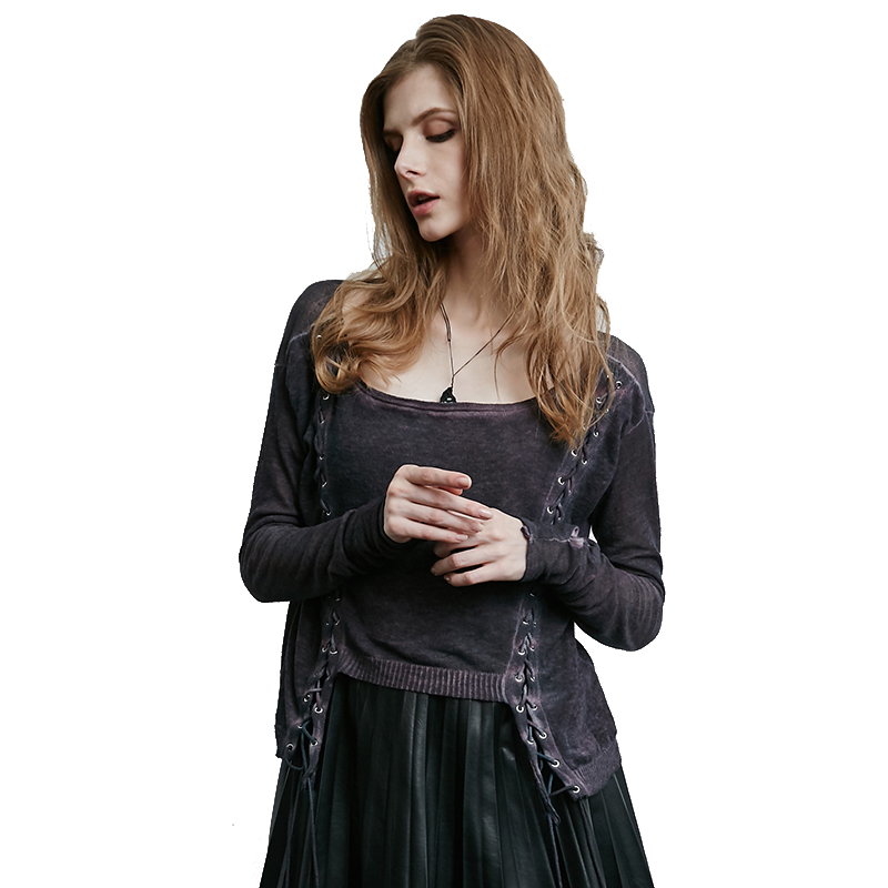 steelsir 2018 Gothic Hand Knitted Linen Women Sweater Lace Up Steampunk Female Tops Retro Punk Knitting Cardigans