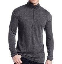 قميص رجالي ماركة جديدة 100% صوف ميرينو رقيق للغاية متوسط الوزن 1/4 بسحاب خارجي للباب طبقة أساسية ملابس حرارية دافئة بأكمام طويلة
