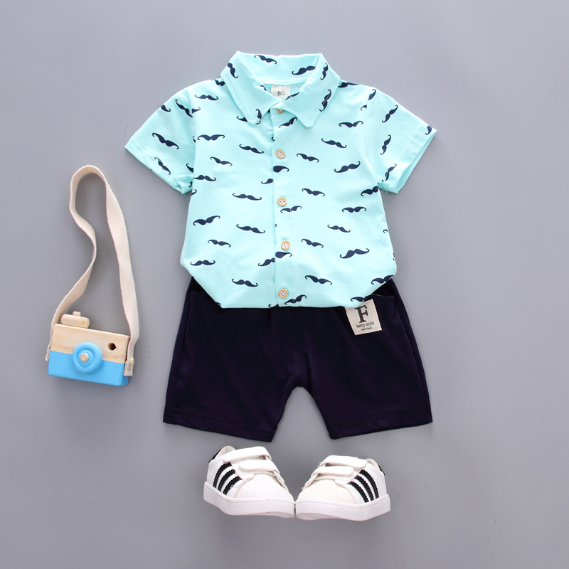 Two-piece baby Boys Polo shirt cute printed beard lapels T-shirt + Shorts Suit cotton Casual Polo Shirt Sports childrens Suit
