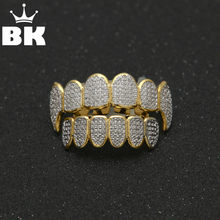 Gold Color HipHop Micro Pave Cubic Zircon TeethGrillz Caps Top&Bottom Men Women Vampire Fangs Grills set(China)
