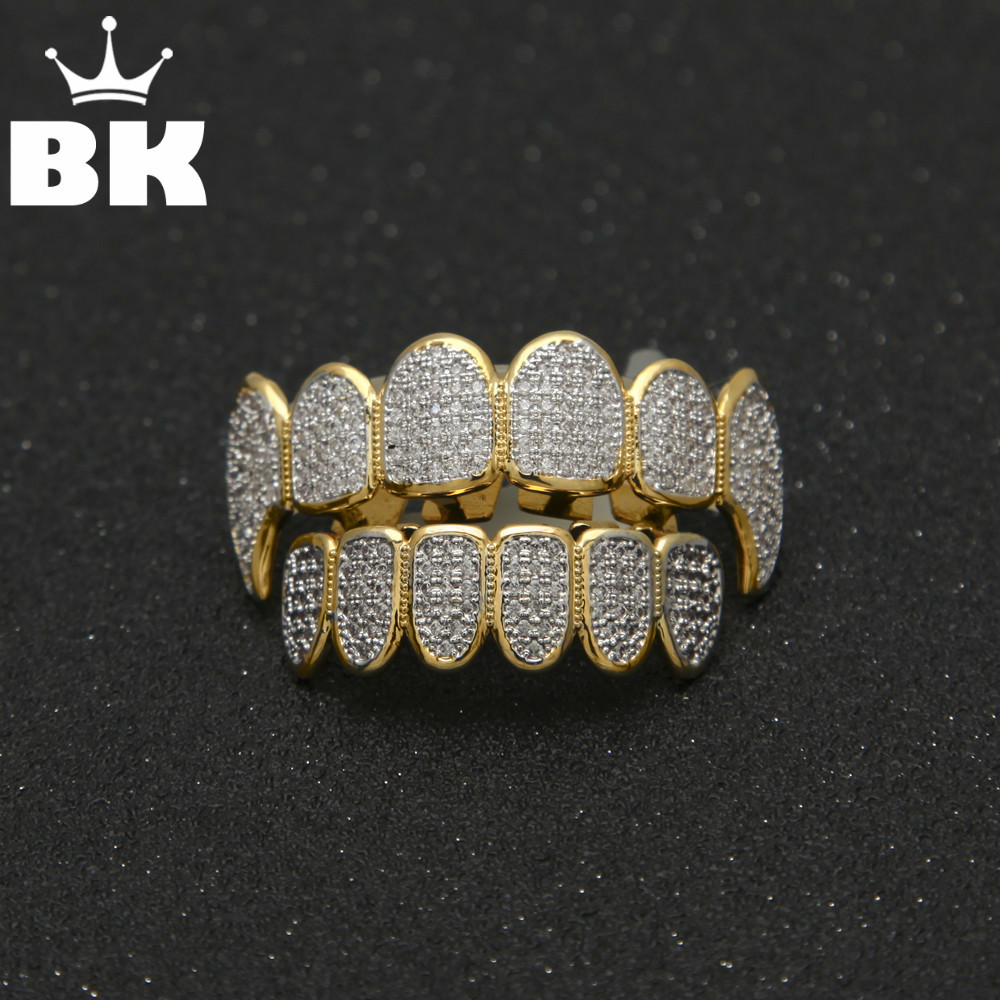 Gold Color Hip Hop Micro Pave Cubic Zircon TeethGrillz Caps Top&Bottom Men Women Vampire Fangs Grills set 560pcs dupont connector jumper wire cable pin header pin housing and male female pin head terminal adapter plug set