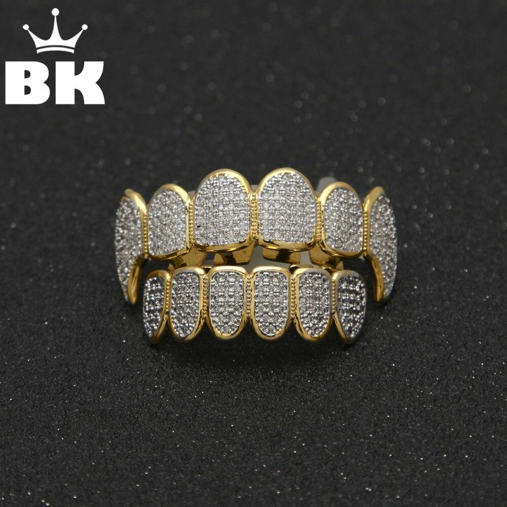 Gold Color Hip Hop Micro Pave Cubic Zircon TeethGrillz Caps Top&Bottom Men Women Vampire Fangs Grills set цены