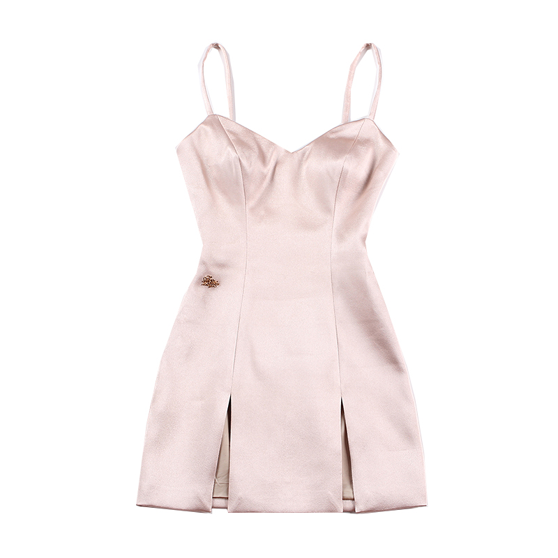 le palais vintage 2018FW Elegant Thick Satin Dress Deep Side Slits Spaghetti Strap Dress Slim High Rise Sequined Logo Deco