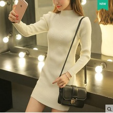 2015 New Winter Casual Warm Dress Long-sleeve Turtleneck Knitted Female Sweater Full Dress Women Basic One-piece Cozy Dresses