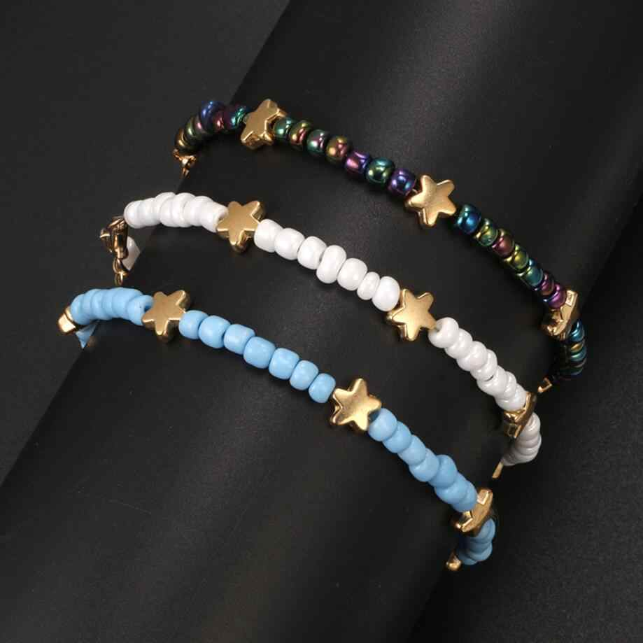 2019 Boho Beach Chain Colorful Beads Star Leg Multi Layer Anklet For Women Charm Adjustable Barefoot Foot Jewelry New