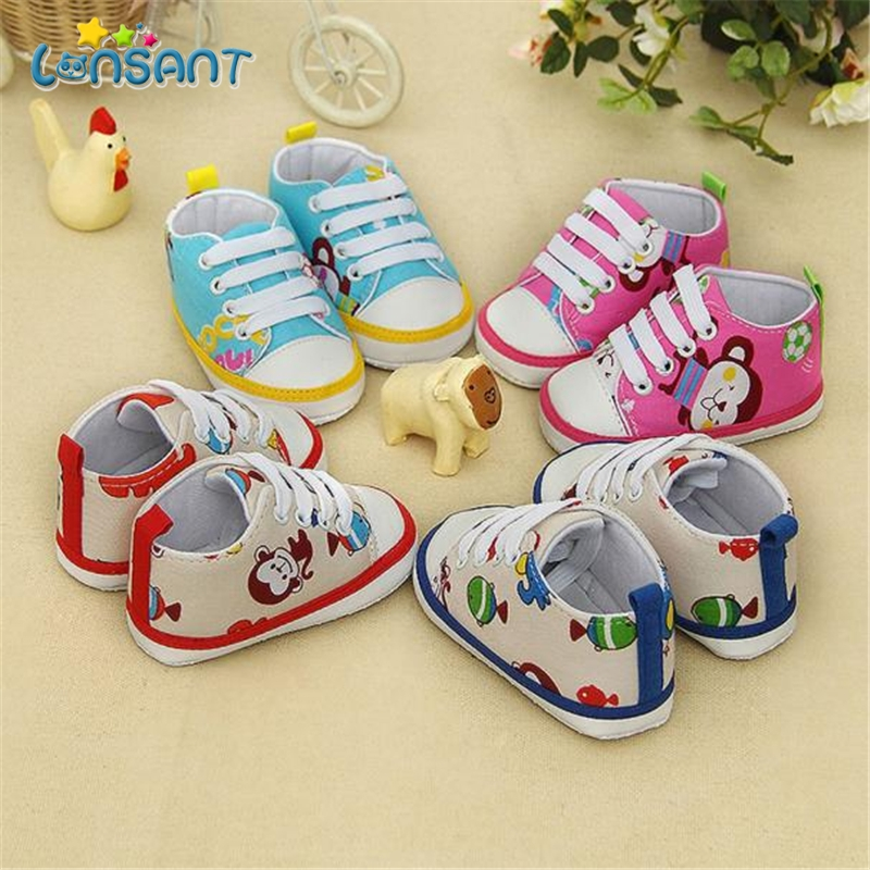 LONSANT Toddler Kids Baby Animal Printing Bandage Canvas Shoes Newborn Shoes E1120