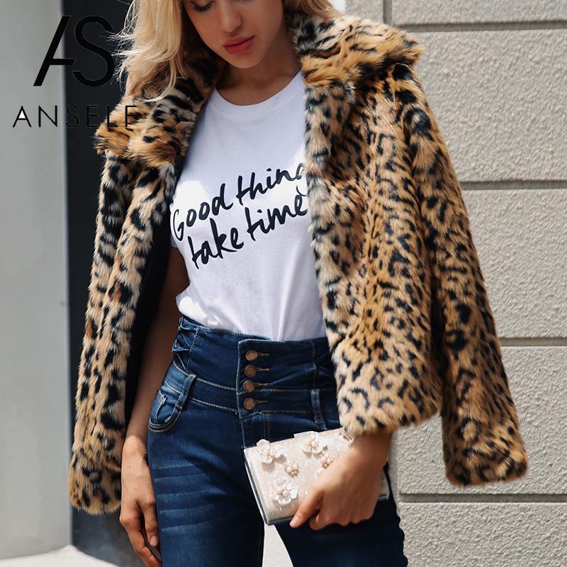 Women Oversized Leopard Print Faux Fur Coat Jacket Winter Warm Cardigan Overcoat