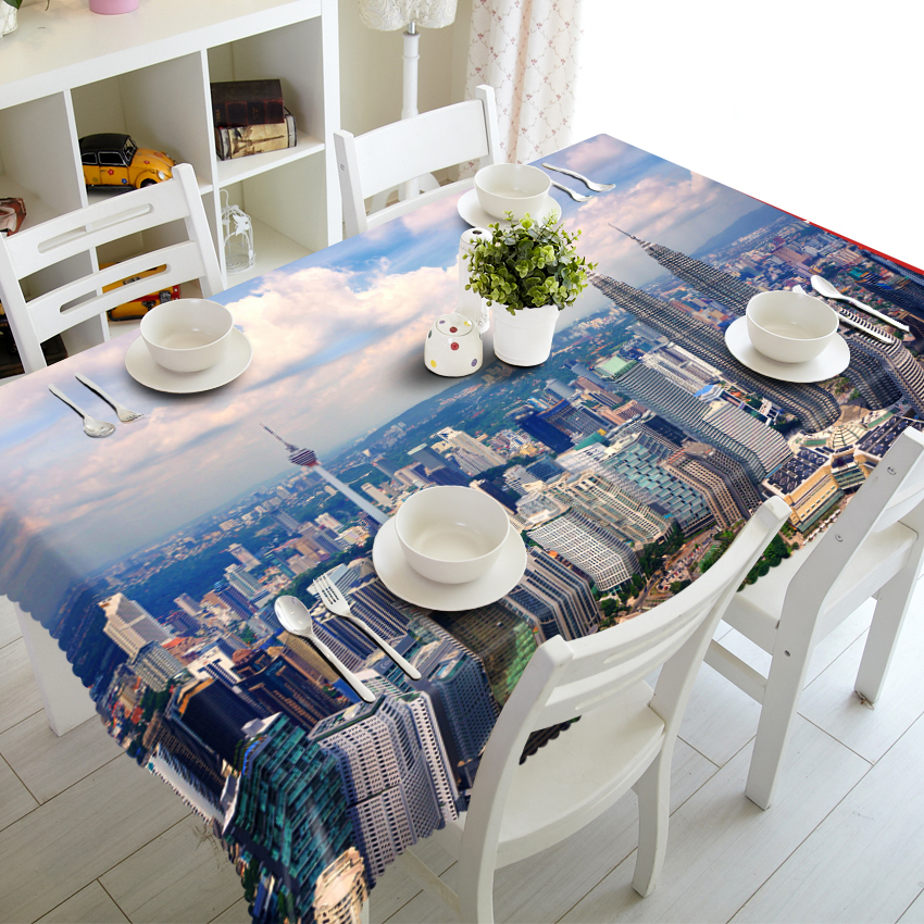 Polyester fabric Customized size Round Square Beautiful City Luxury Modern 3D Table Cabinet Cover Dinner Table Cloth Cover