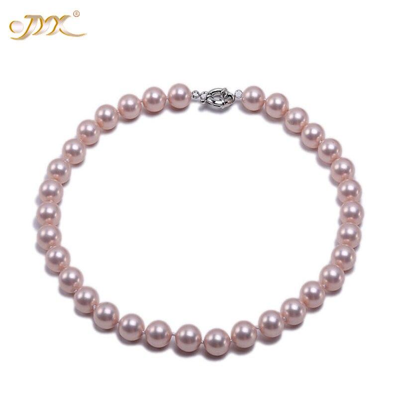 JYX 2019 charmant collier rose 18mm coquillage perle ronde perles collier de haute qualité 18