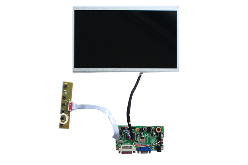DVI+VGA +Audio  LCD driver   board    +LVDS cable +OSD keypad with cable+ B101EW02V0 v m70a vga lcd controller board for 12 1 inch 1024x768 xga ht12x12 ccfl lvds driver motherboard with 5 key keypad easy to diy
