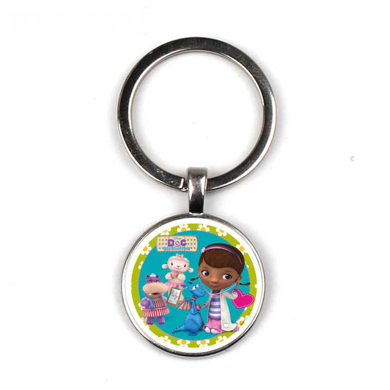 Doc Mcstuffins Children Cartoon Keychain Dottie Girl Figure Pattern Glass Cabochon Toy  Key chain Kids Jewelry Gift