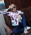 Autumn Women Shirts Loose Print Full Sleeve Original SuFeng Cartoon Circus Blouse Shirt 111