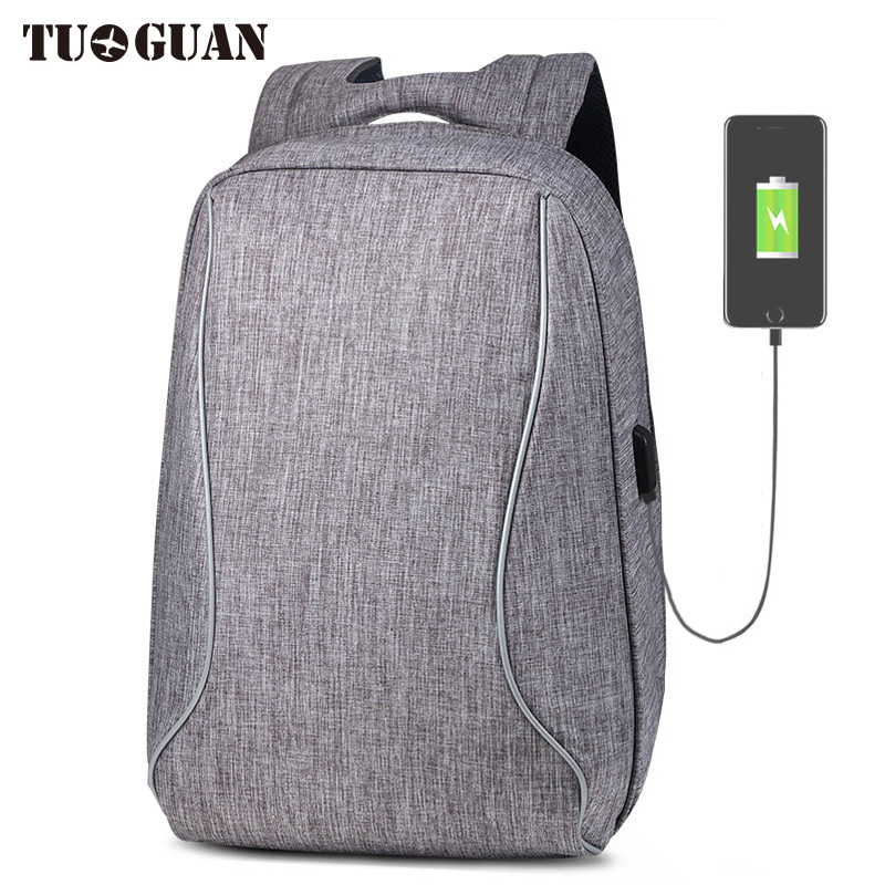 TUGUAN Men Waterproof Anti Theft Backpack USB Charging Reflective Back Pack Business Laptop Bag School Bagpack for Male Boy
