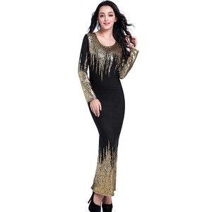 Image 3 - משלוח חינם חדש אפריקאי נשים קיץ שמלת זהב רדיד Slim ארוך שרוול שמלת Bronzing קצף אופנה חמה מכירות