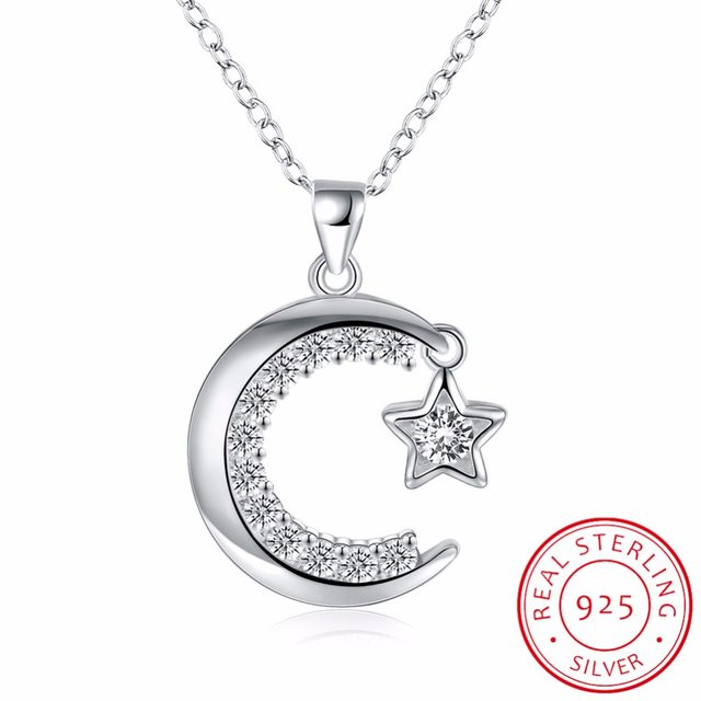 Online shop inalis new arrivals 925 sterling silver moon star inalis new arrivals 925 sterling silver moon star necklaces pendants for women fine sterling silver jewelry mozeypictures Image collections